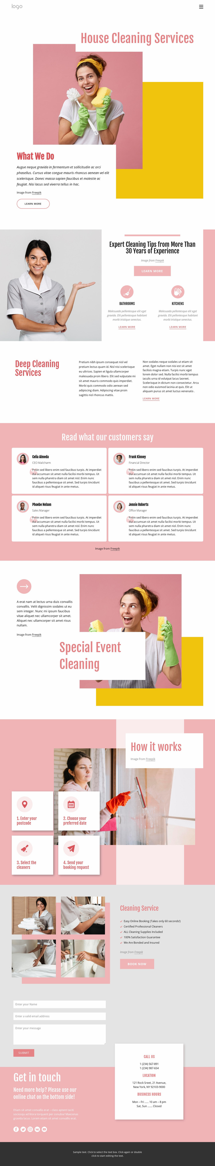 Professional customized house cleaning Website Mockup