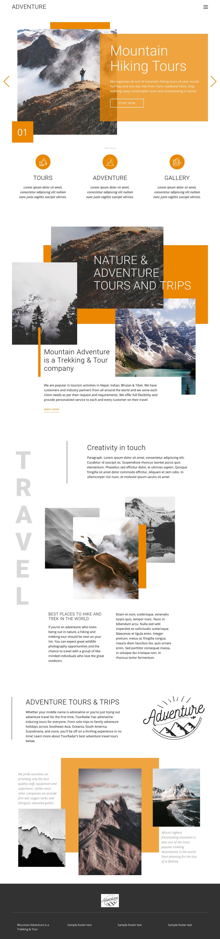 Mountain hiking travel Homepage Design