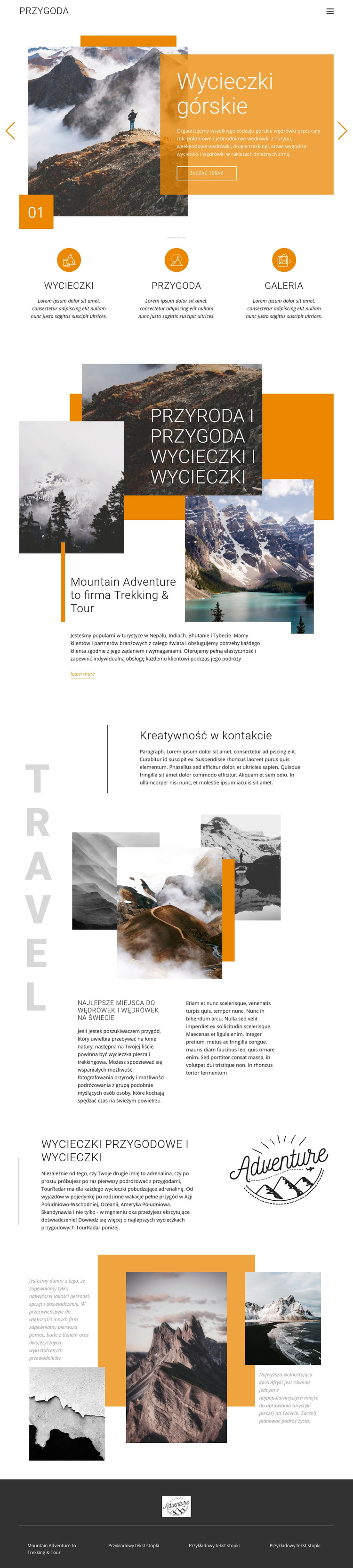 Podróże górskie Szablon witryny sieci Web