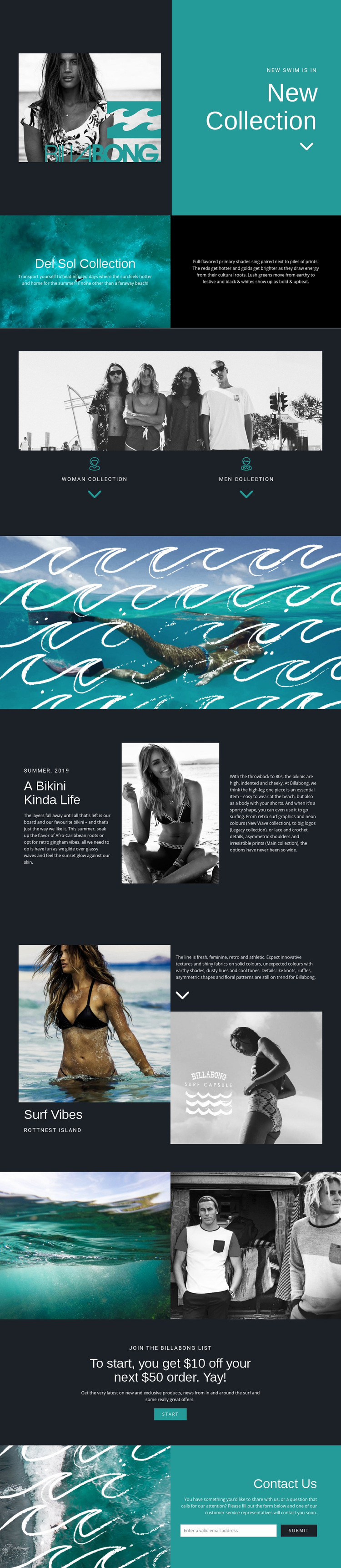 New collection of swimwear Web Page Design
