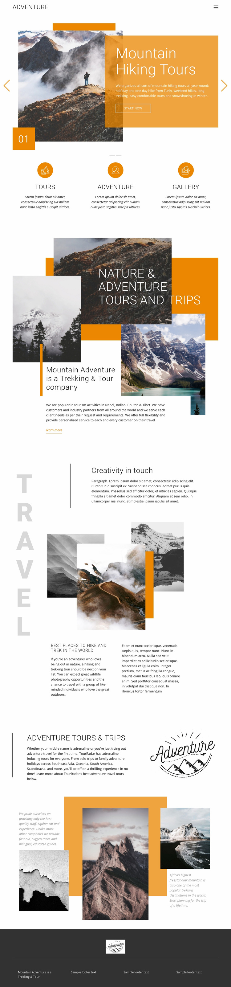 Mountain hiking travel Website Template