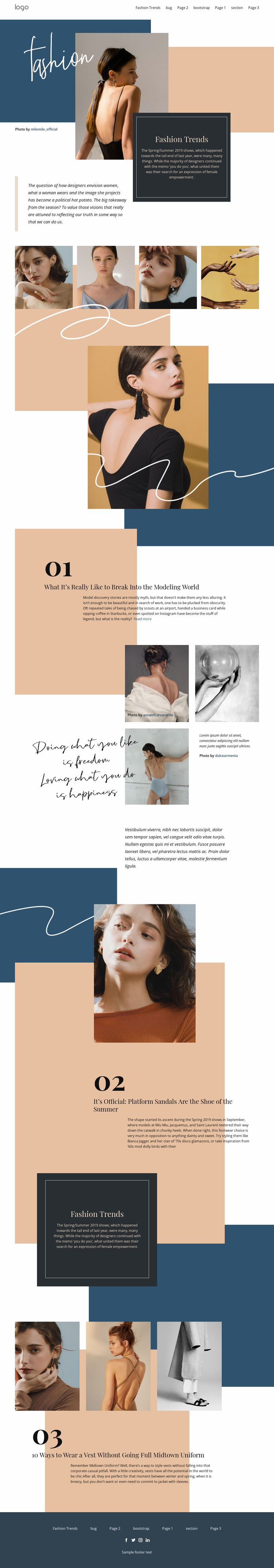 Innovative trends in fashion  Website Mockup