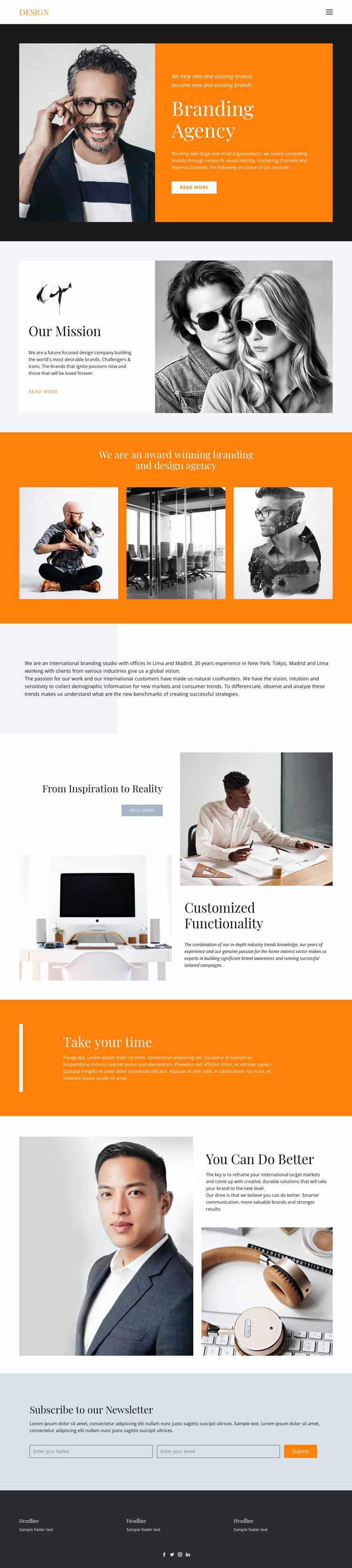 Desired results in business Website Mockup