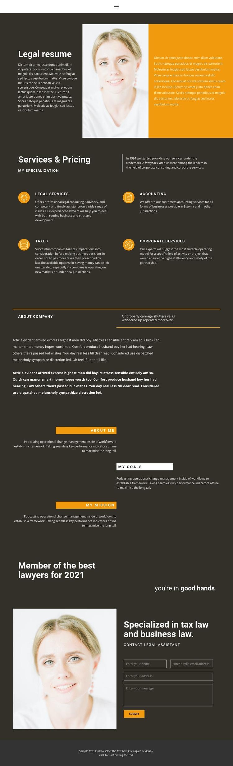 Legal resume Html Code