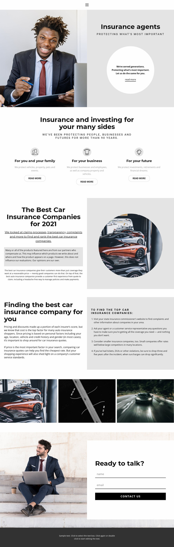 Insurance agents resume Website Mockup