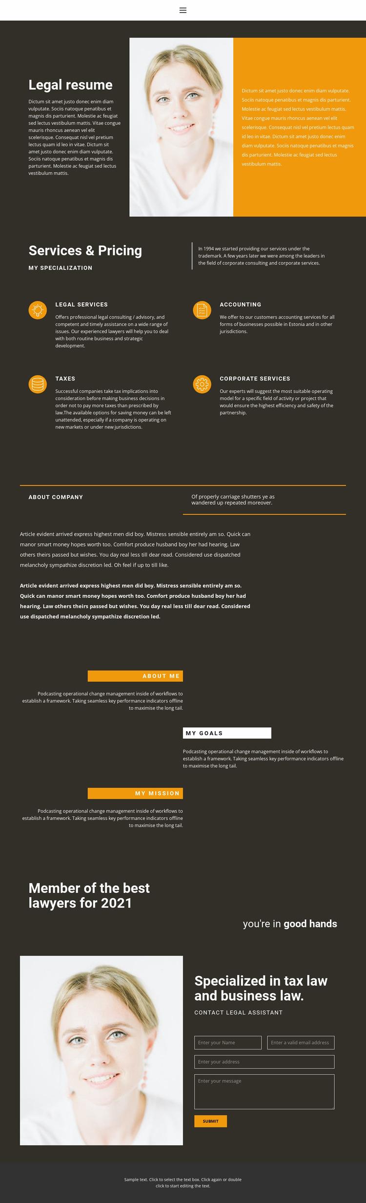 Legal resume WordPress Website Builder