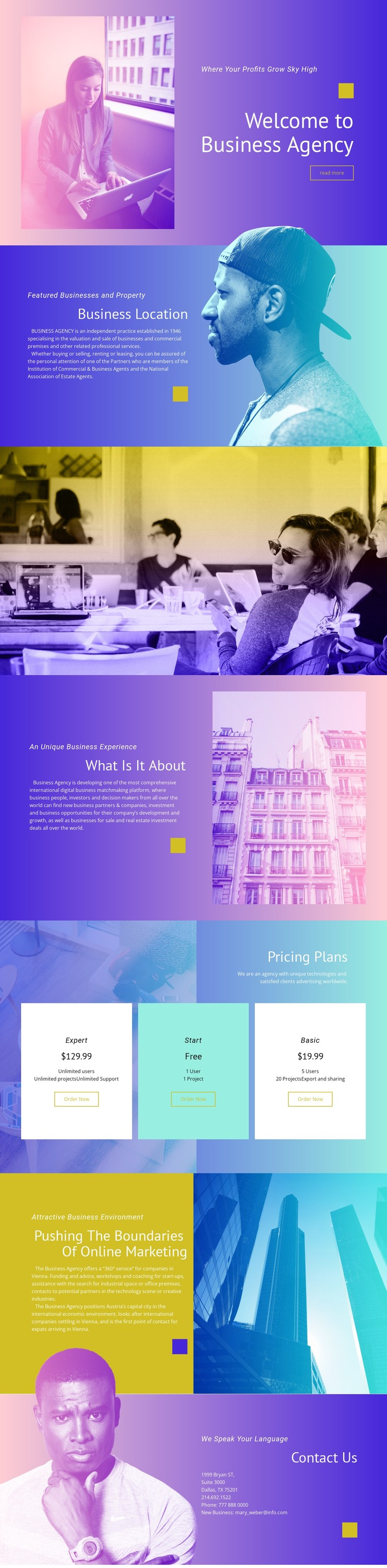 Features business and property CSS Template