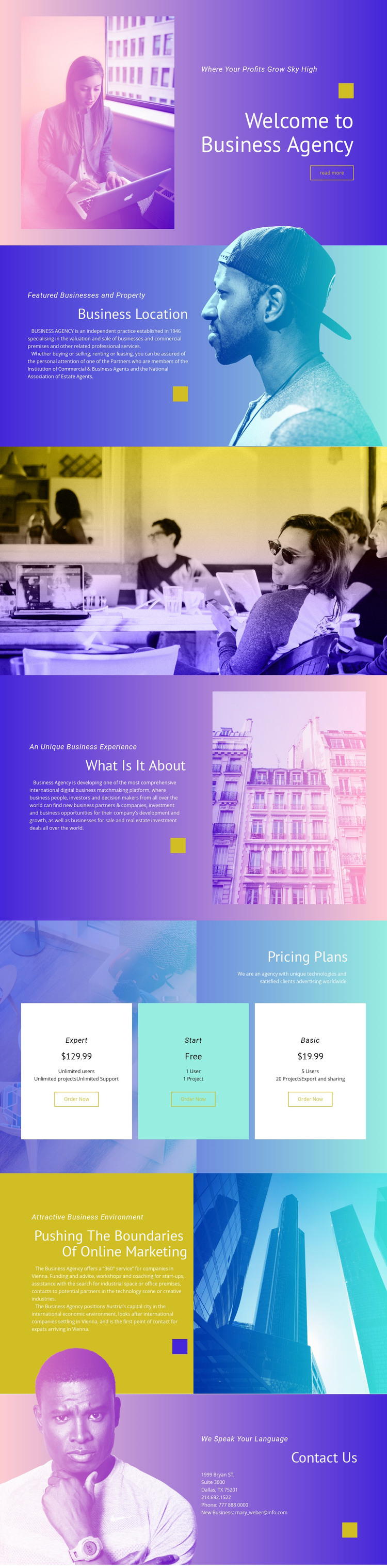 Features business and property WordPress Website
