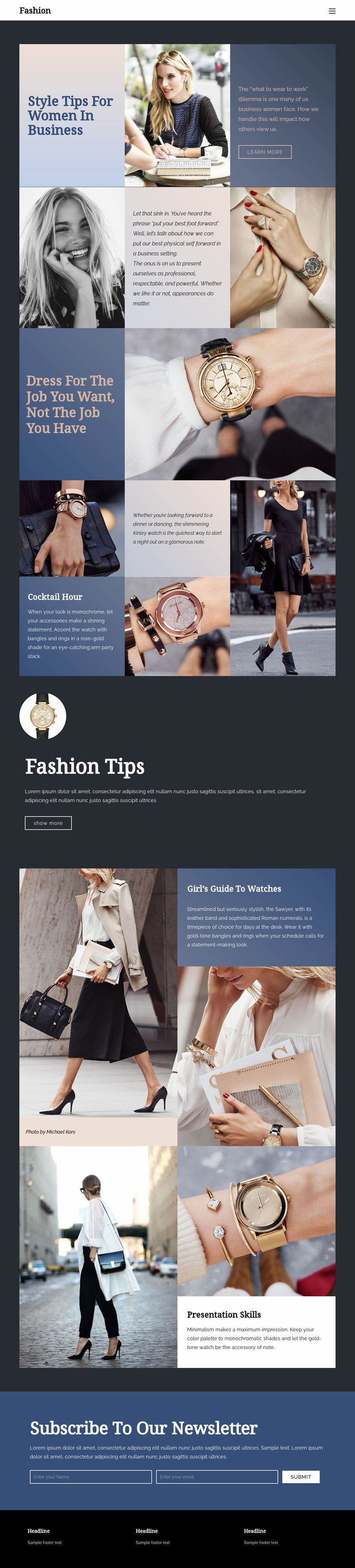 Tips to succeed in fashion Landing Page