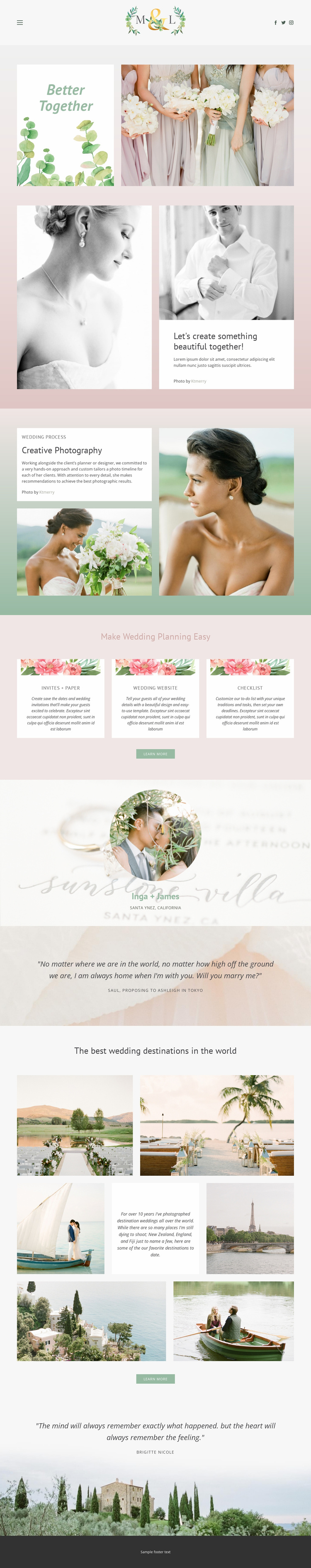 Best photos for wedding Landing Page