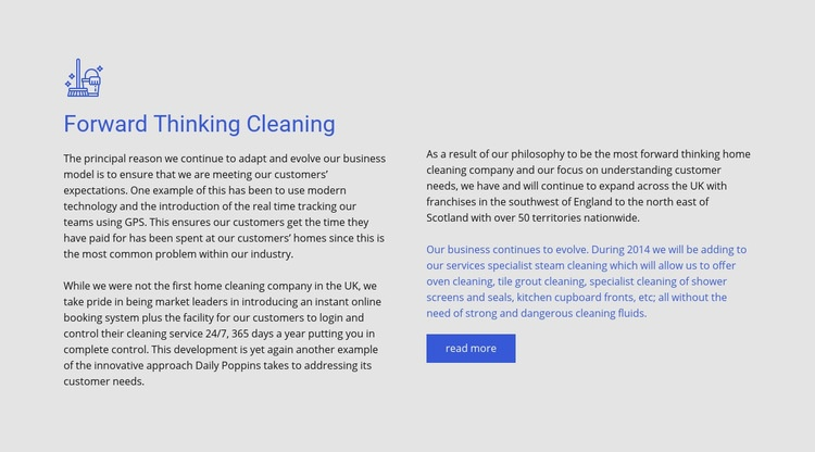 Forward thinking cleaning Html Code Example