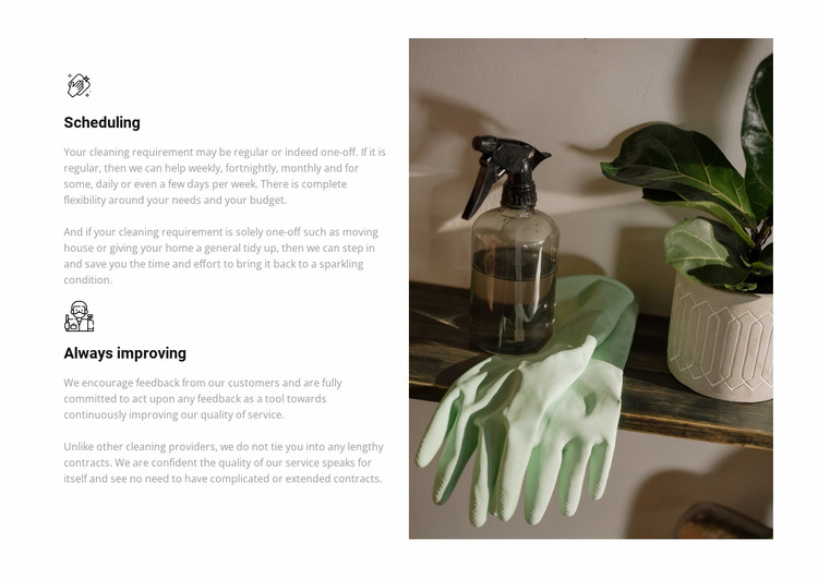 Cleaning company work Html Website Builder