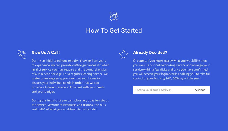 How to order cleaning HTML5 Template
