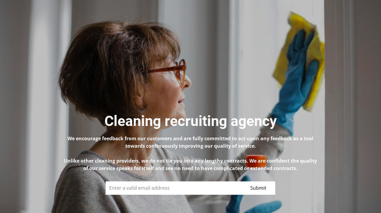 Staff recruitment for cleaning HTML Template