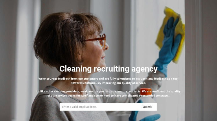 Staff recruitment for cleaning WordPress Website Builder