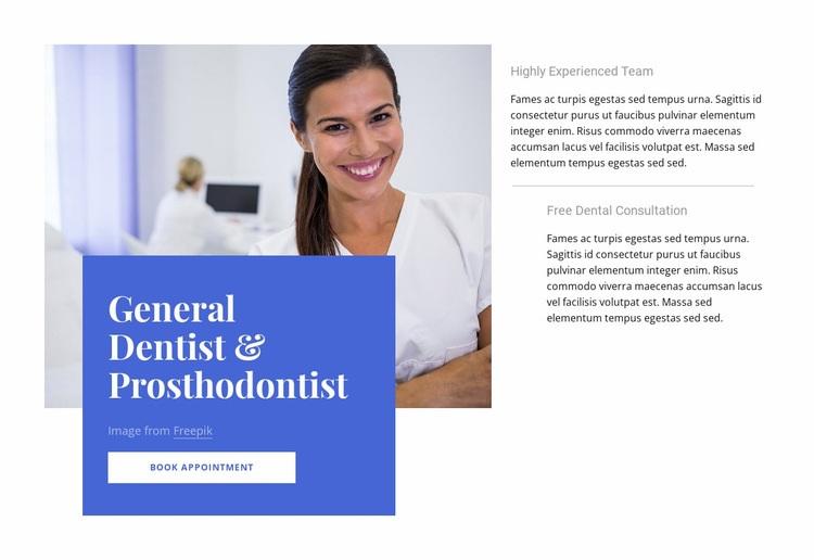 General dentist Web Page Design