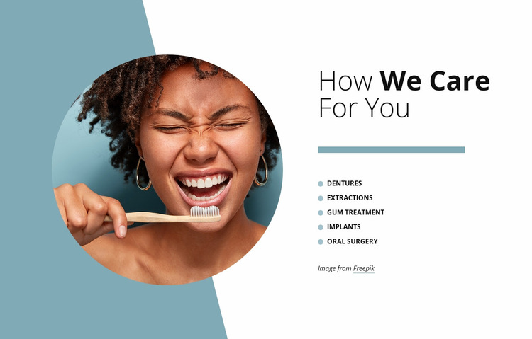 How we care for you Website Mockup