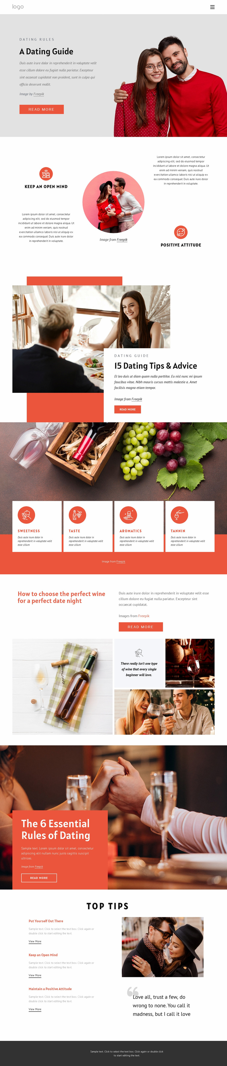 Dating guide Website Template