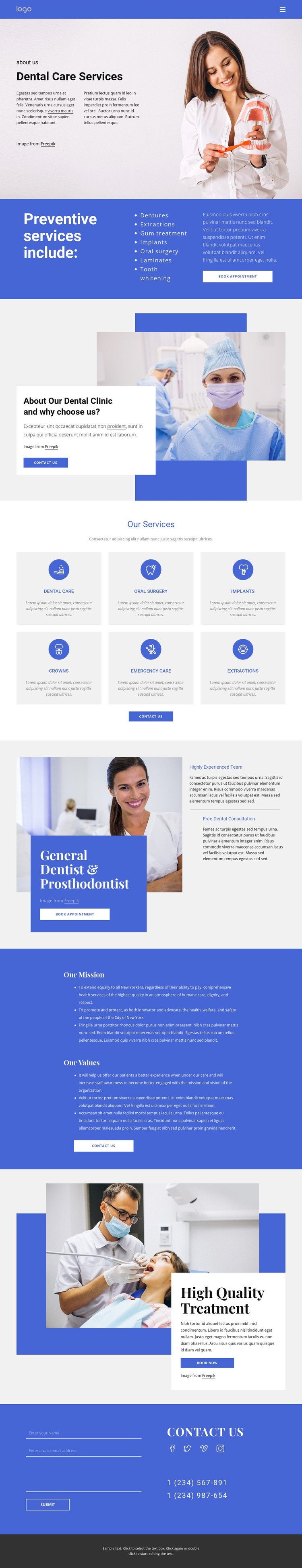 Dentist and prosthodontics One Page Template