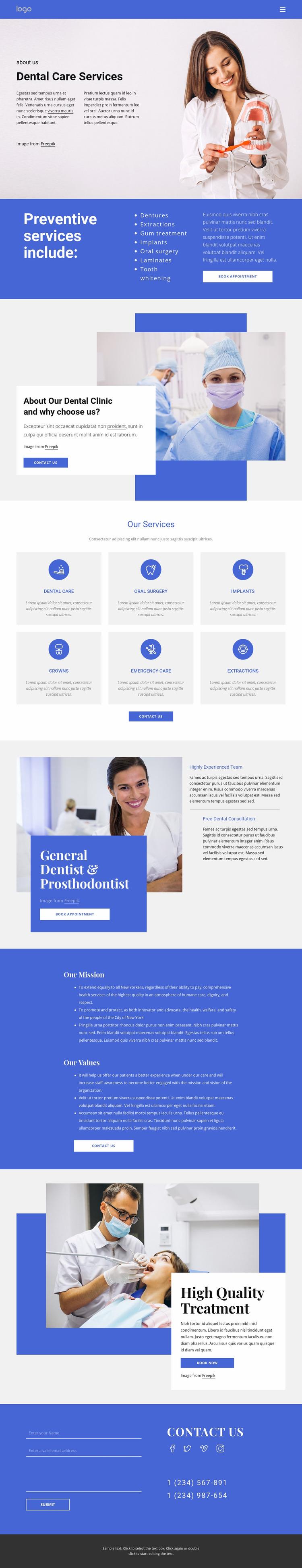Dentist and prosthodontics Website Mockup