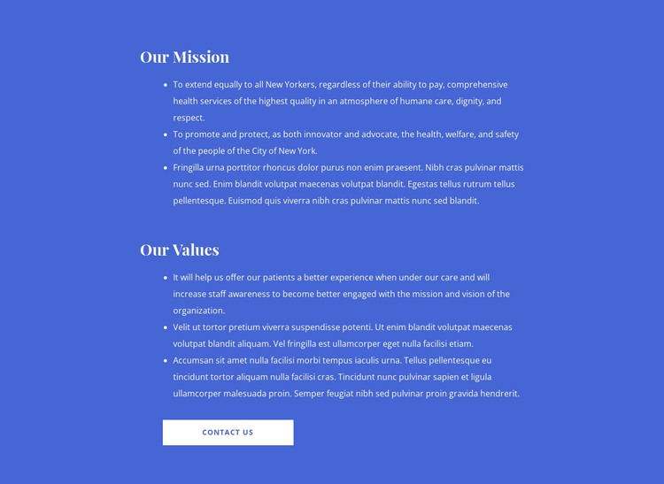 Our mission and values HTML Template