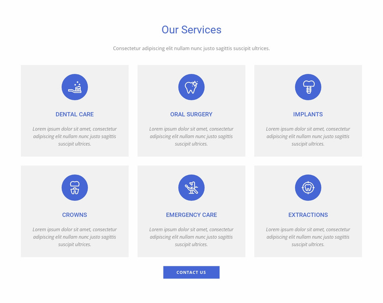 Dental clinic services Website Template