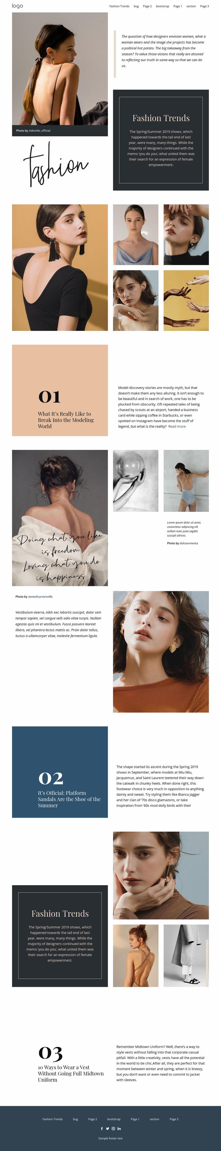 Designer vision of fashion Html Website Builder