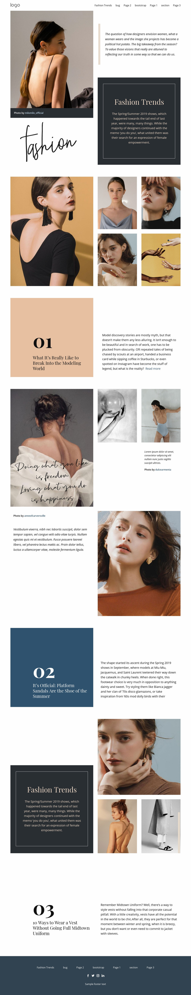 Designer vision of fashion Web Page Design