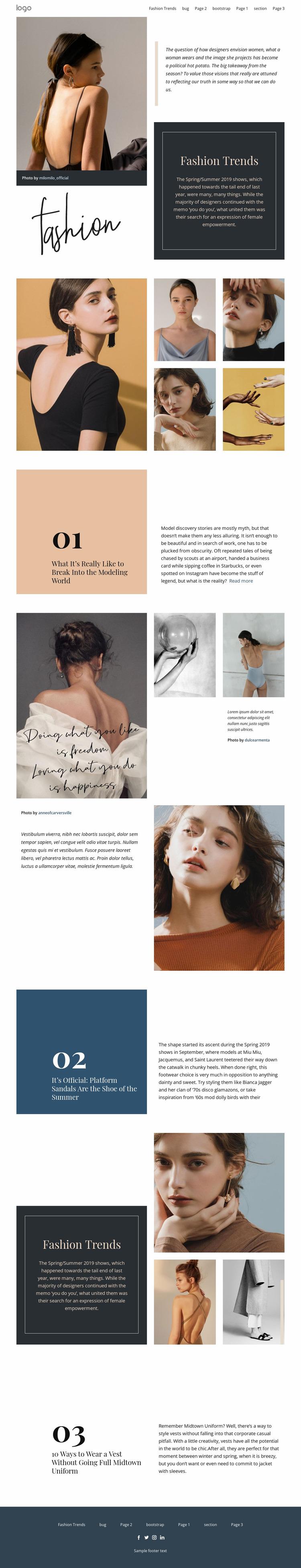 Designer vision of fashion Website Mockup