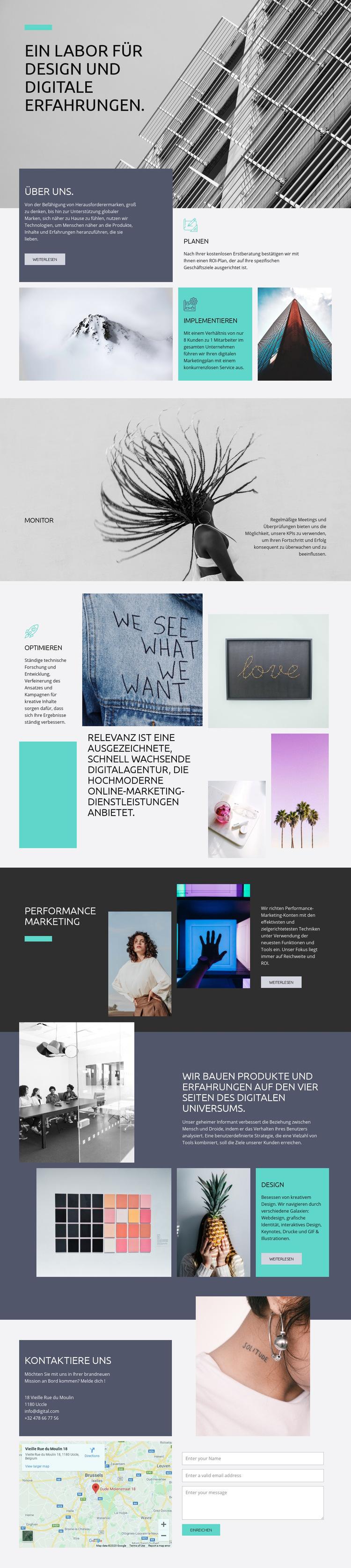 Kreativlabor für digitale Kunst Website-Vorlage