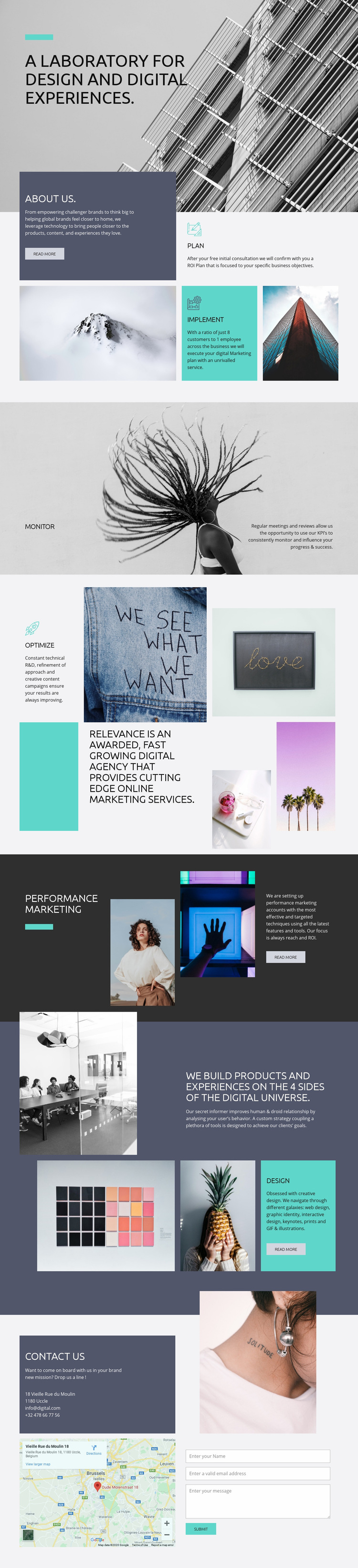 Creative lab for digital art Web Page Design