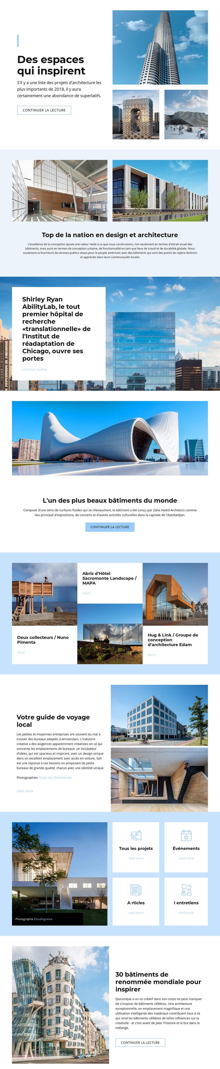 Architecture inspirée de l'espace Modèle de site Web
