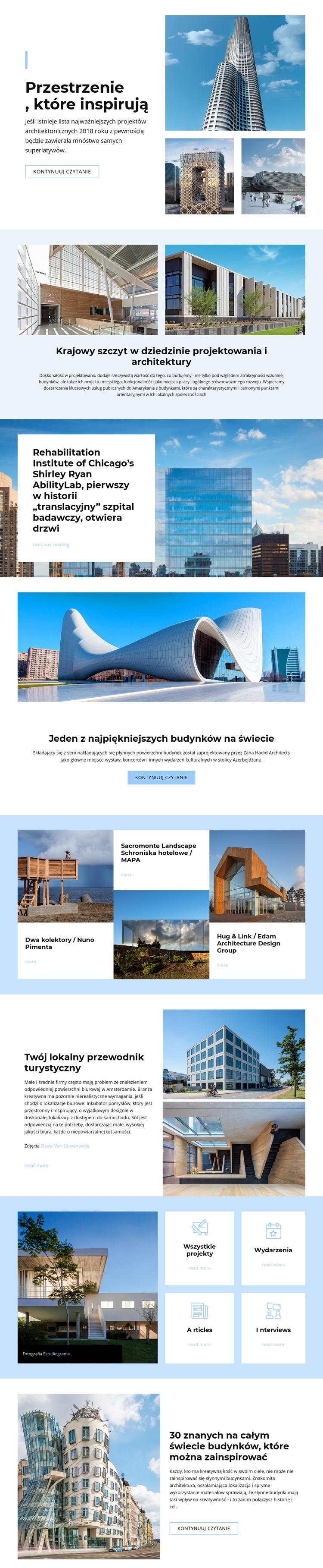 Architektura inspirowana kosmosem Szablon witryny sieci Web