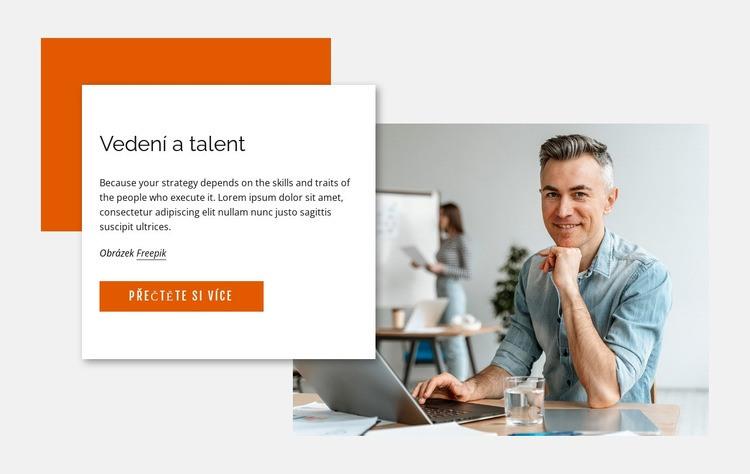 Vedení a talent Šablona webové stránky