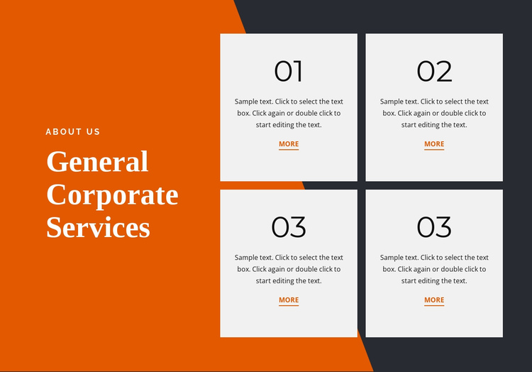 General corporate services One Page Template