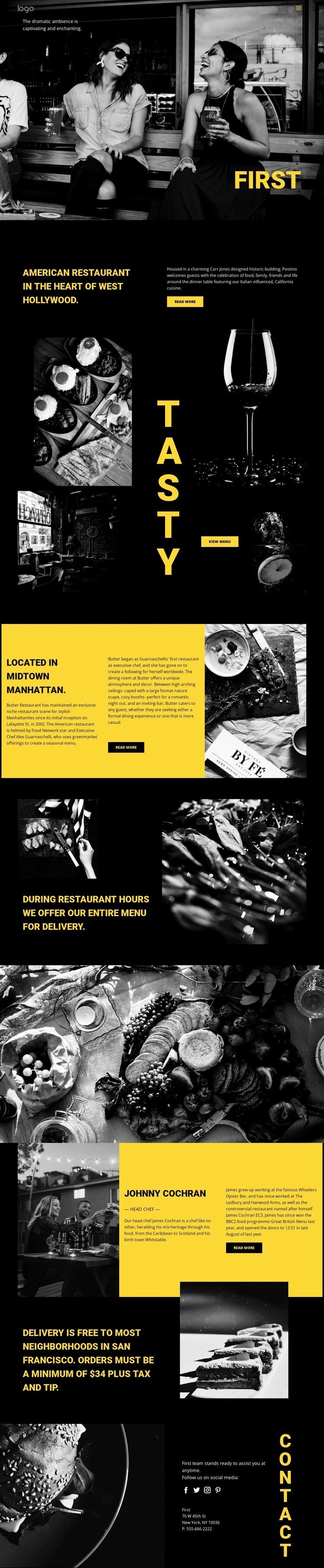 World's best restaurant One Page Template
