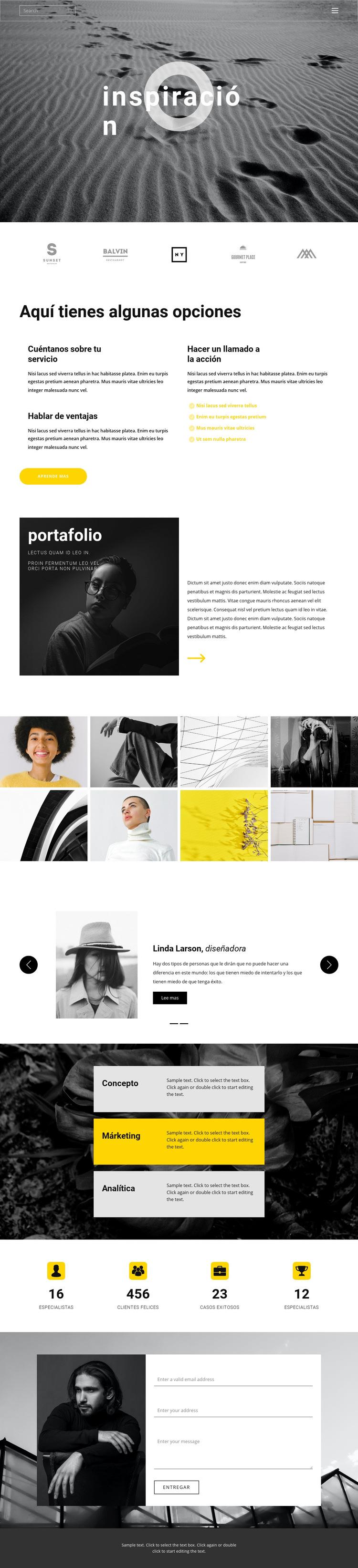 Inspiración para la creatividad Plantilla de sitio web