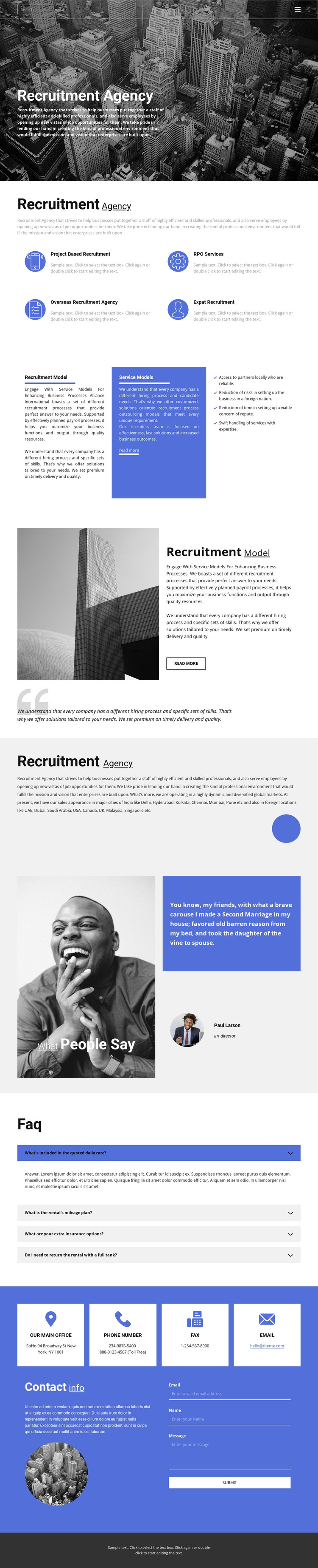 Recruiting agency with good experience HTML Template