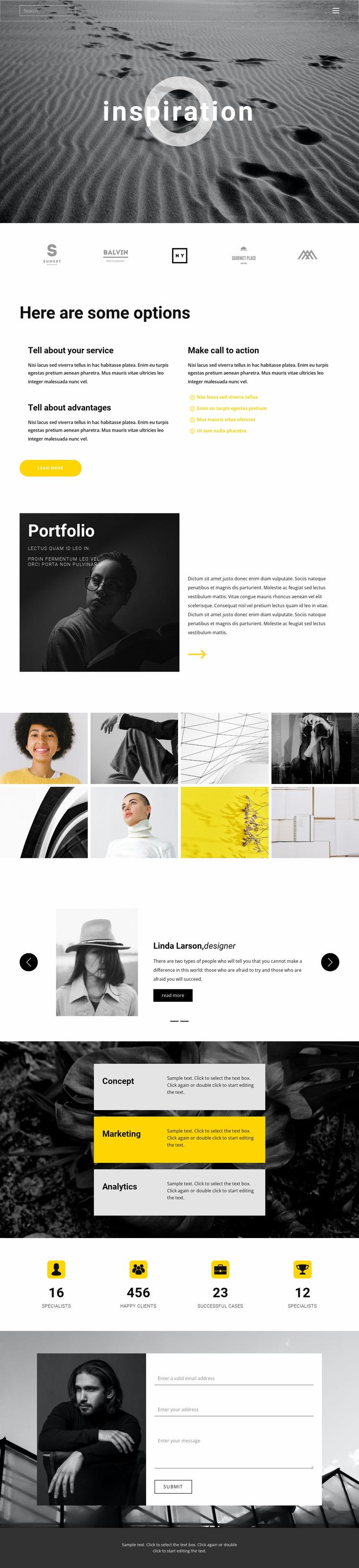 Inspiration for creativity Html Website Builder