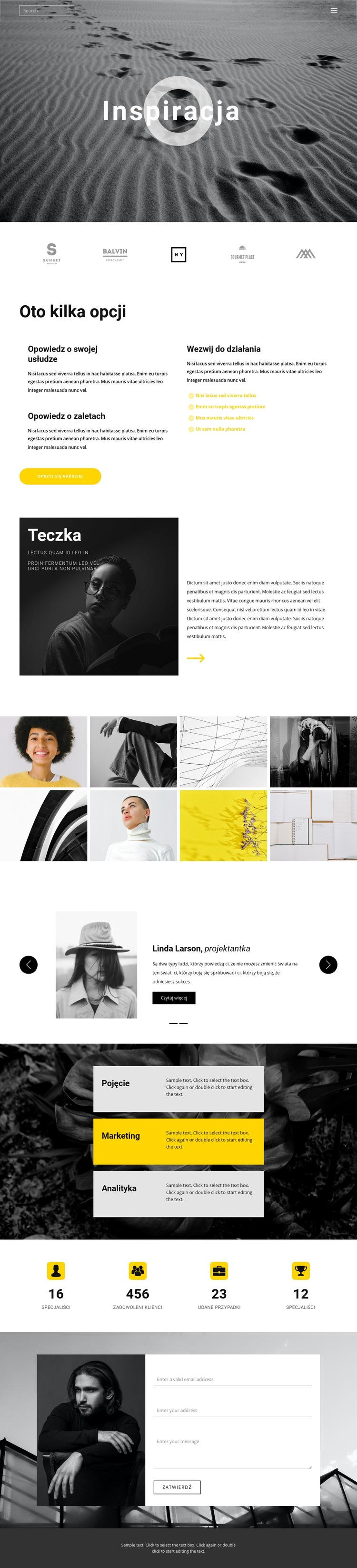 Inspiracja do kreatywności Szablon witryny sieci Web