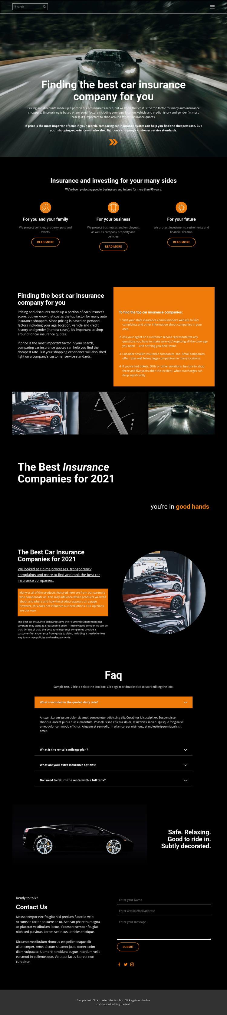 Transport insurance Website Mockup