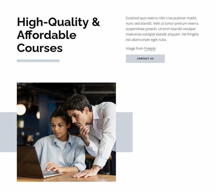 Hight quality courses Website Mockup