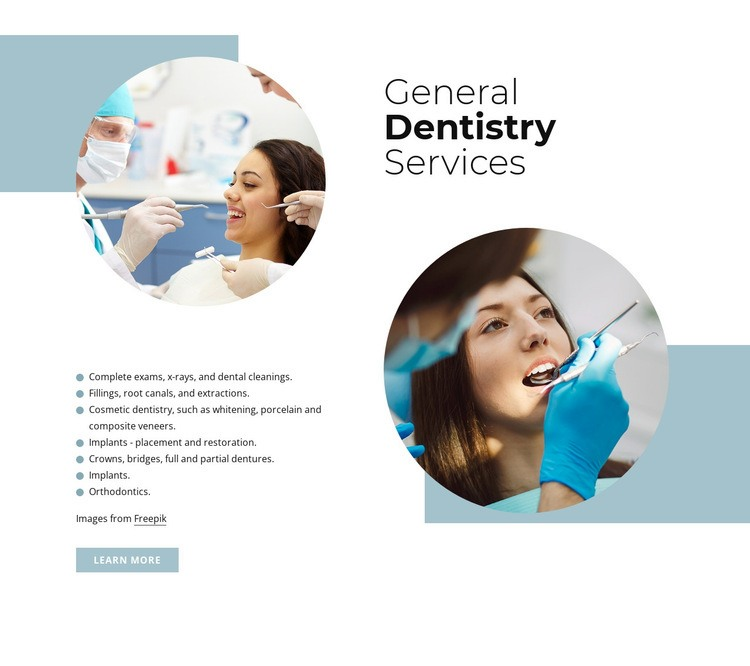 General dentistry services Html Code Example