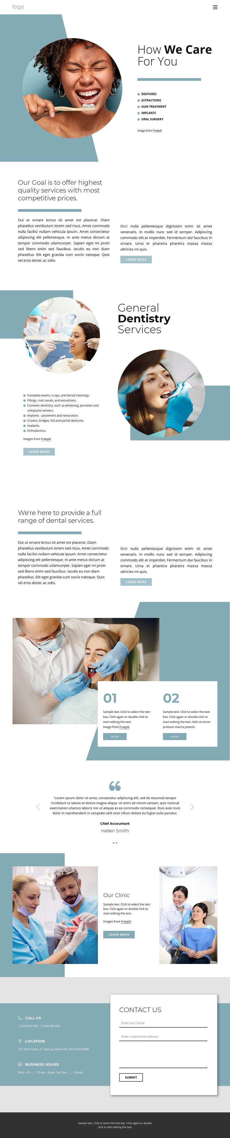 Hight quality dental services Web Page Design