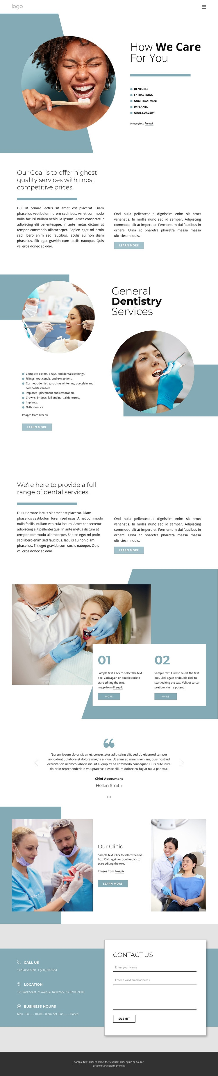 Hight quality dental services Web Page Designer