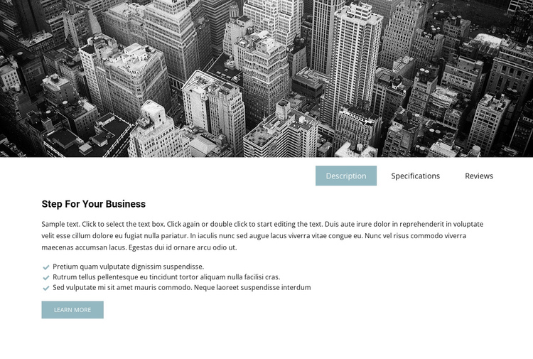Business image and tabs Website Builder Software