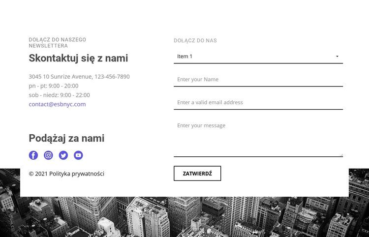 Kontakty naszej firmy Szablon witryny sieci Web