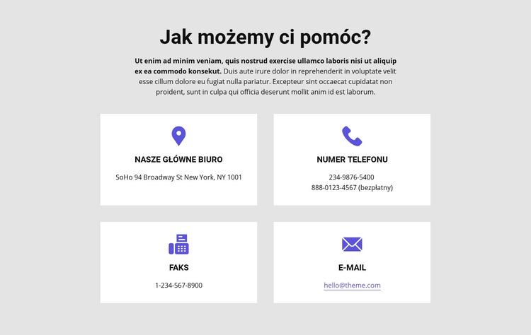 Jak możemy ci pomóc Szablon witryny sieci Web