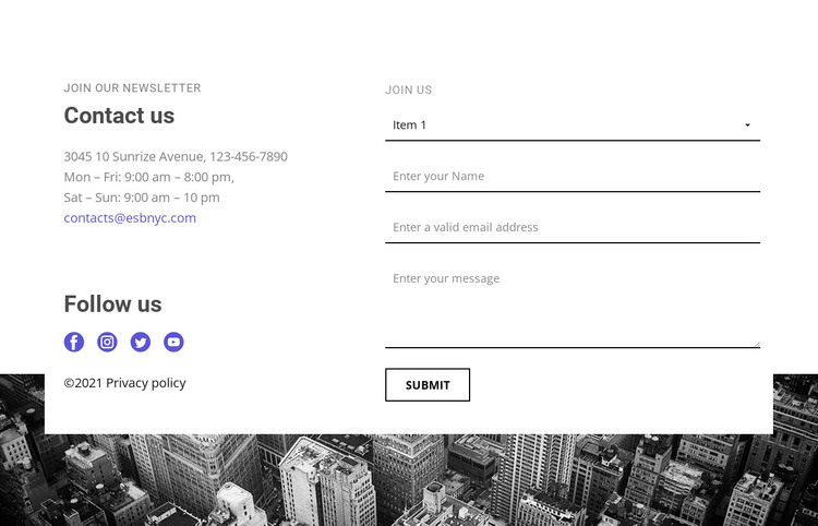 Contacts of our company WordPress Theme