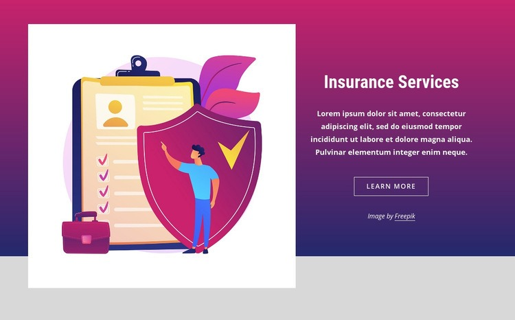 Popular insurance products Web Page Design